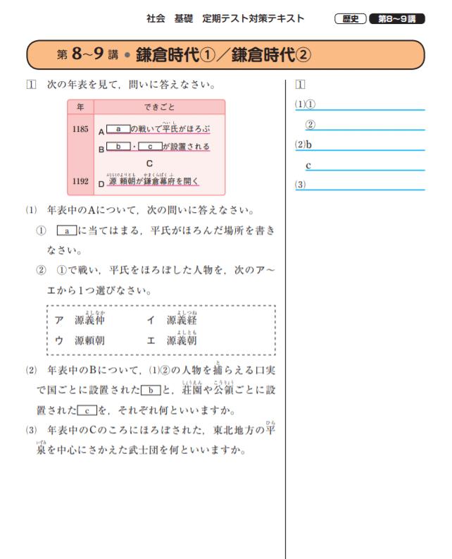 スタディサプリ中学社会テキスト