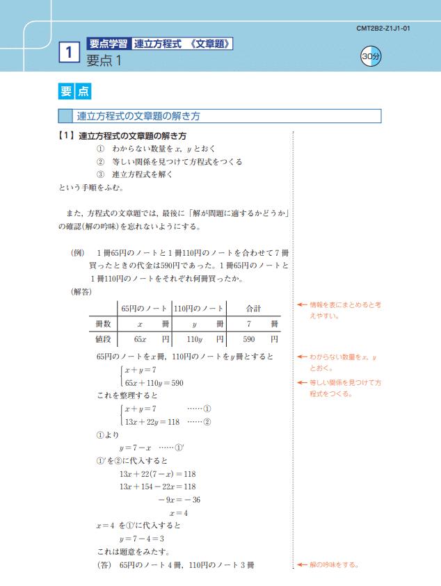 Z会中学生コース要点学習テキスト